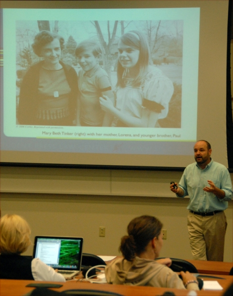 Mike Hiestand talks about the history of the Tinker case to participants at Reynolds Workshop at Kent State University in 2010. Pictured are the Tinker family, with Mary Beth Tinker on the right. [Photo by John Bowen. Used with permission]