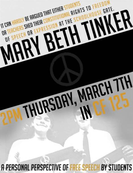 Mary Beth Tinker and Mike Hiestand will be speaking at Western Washington University on March 7, 2013