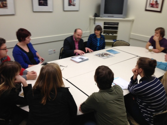 Mike Hiestand and Mary Beth Tinker meeting with editorial board of The Western Front at Western Washington University