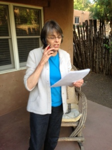 Mary Beth Tinker working the phones from Santa Fe, NM, in the final hours of the Tinker Tour Friday evening