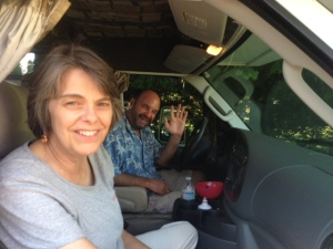 """Mary Beth Tinker and Mike Hiestand checking out possibilities this week for their Tinker Tour """"bus""""."""