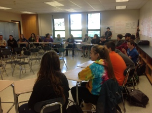 The day at South Hadley High School included a student roundtable where students shared their thoughts on topics such as the news media, cyberbullying, barriers to student activism