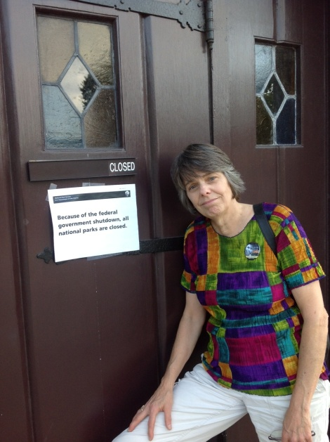 Mary Beth Tinker outside the Ebenezer Baptist Church in Atlanta, Ga., during stop on the Tinker Tour Oct. 3. The church, part of the Martin Luther King, Jr., National Historic Site run by the National Park Service, was closed due to the federal government shutdown.