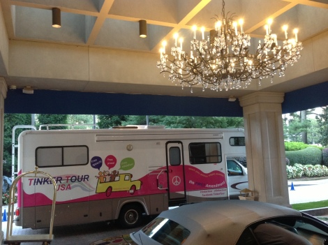 """Gabby"" the Tinker Tour bus checking into the Atlanta Ritz-Carlton hotel Oct. 3."