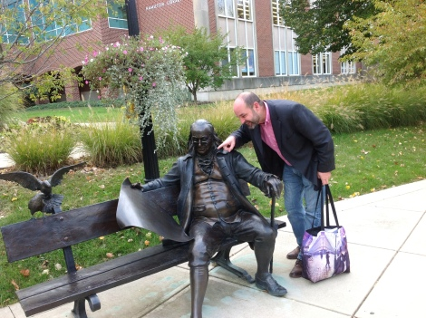 Mike Hiestand and Ben Franklin discuss updates to the Constitution during the Tinker Tour's Oct. 23 visit to Franklin College.
