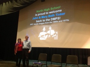 Mary Beth and John Tinker are welcomed back to North High School in Des Moines, Iowa, site of John's suspension in 1965