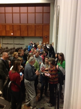 Social studies teachers line up to meet Mary Beth Tinker following her presentation at national social studies convention in St. Louis in November