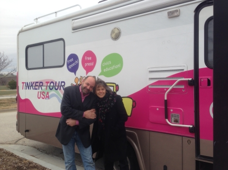 "Mike Hiestand, Mary Beth Tinker and ""Gabby"" the Tinker Tour bus during their fall free speech and civics education tour. The pair are raising money to take the tour to the West Coast this spring."
