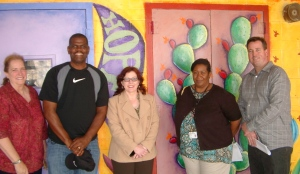 Principal, Paulette Koss, with teachers