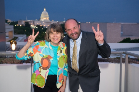 Mary Beth Tinker and Mike Hiestand received Hugh Hefner Foundation  First Amendment Awards for their work on the Tinker Tour at a ceremony held at the Newseum in Washington, DC.  Tuesday May 20th, 2014.  Photo by Ben Droz.