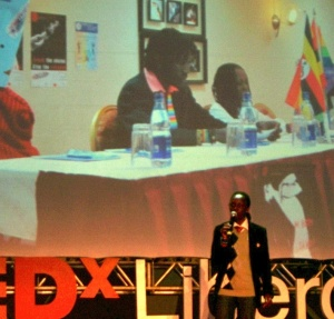 Kasha Jacqueline Nabagesera giving her TedxLiberdade talk on April 23.
