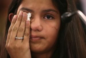 Mayeli Hernandez, 12, testifies (photo Alex Wong/Getty Images N America)