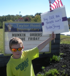 "Connor, 5th gr, ""I came out to support my teachers."""