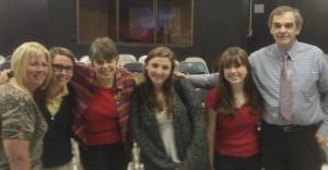Cathy Kuhlmeier-Frey, Mary Beth & John Tinker with students at Northport HS