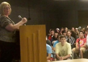 Cathy Kuhlmeier-Frey tells her story to students at Northport