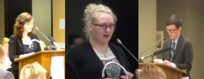 N Dakota students Carrie Sandstrom , Kacey Peterson and Logan Ahern testify
