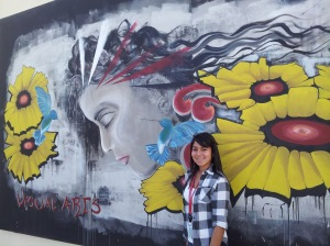 Patricia shows off the art work at South Mountain HS in Phonenix