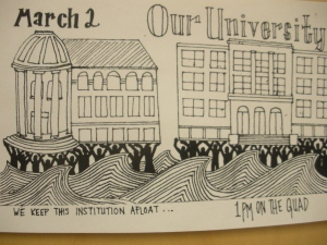 A poster I saw at American University,  where students held a rally about tuition hikes