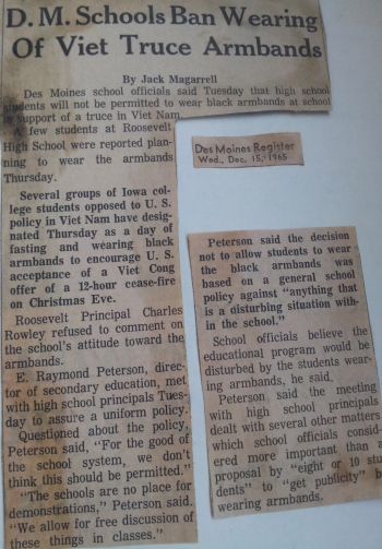 The DM Register article from 12/15/65 announcing the ban on armbands