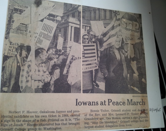 DM Register article about Washington peace march. My sister, Bonnie, is on the right. Herbert Hoover is on the left.