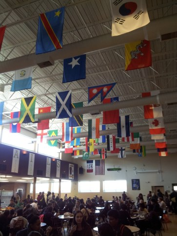 Lincoln HS displays a flag for every country where one of their students is from