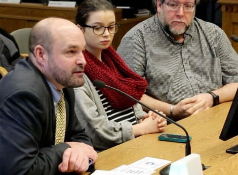 (L-R) Attorney Mike Hiestand, Kylie Charney-Harrington, a student journalist with the Timberlake High School Blazer student newspaper and Mountlake High School student newspaper adviser Vince DeMiero were among those to testify before a Washington State Senate Committee in support of a bill that would protect the free press rights of student journalists.