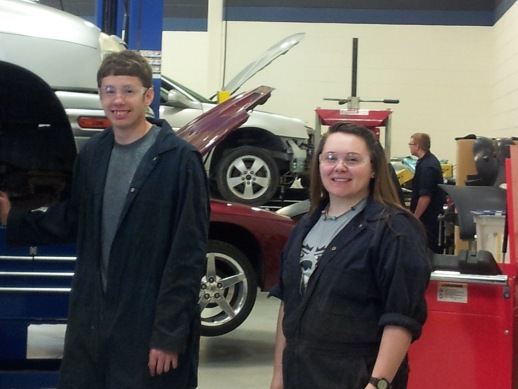 Auto repair students at Millstream Career Center, where girls learn trade skills, too!