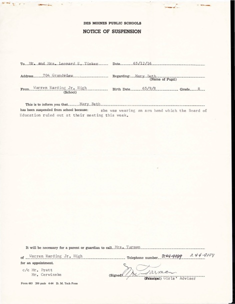 Harding suspension notice '65